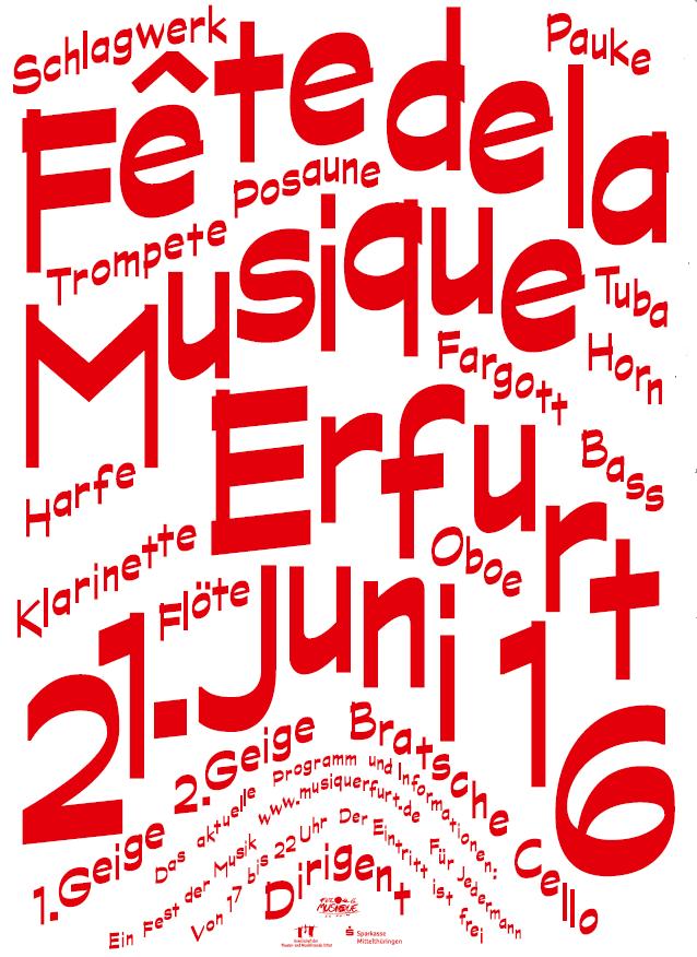 Plakat der Fete de la Musique Erfurt 2016, bei die Singer-Songwriter-Band Strandheizung mitwirkte.