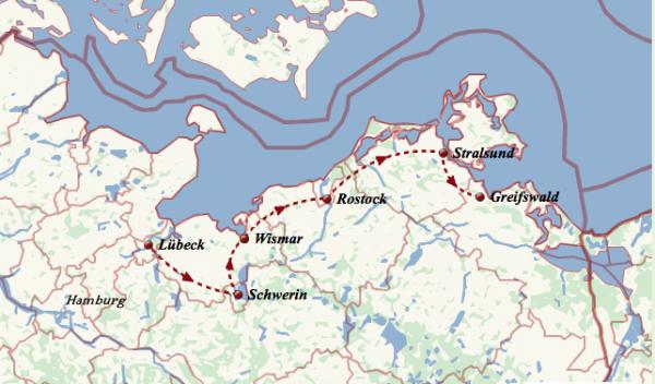 Grafik der Route der Strand-Tour 2016 der Singer-Songwriter-Band Strandheizung von 2016. Grafik: Dominic Eib.