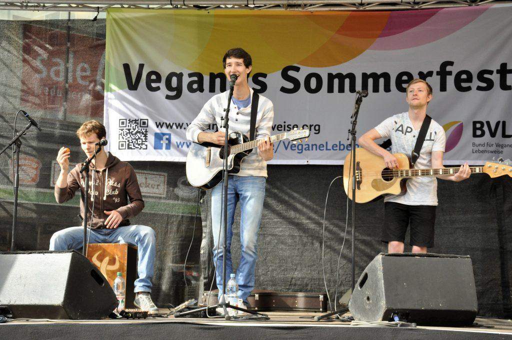 Auftrittsfoto der Singer-Songwriter-Band Strandheizung beim Veganen Sommerfest in Halle/Saale 2016. Foto: Strandheizung.