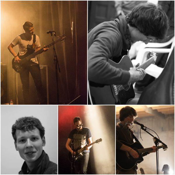 Eine Fotocollage zum Thema Akustik Live-Session bestehend aus fünf Einzelfotos der Musiker der Band Strandheizung mit ihren Instrumenten, Fotos: Steffen Zimmer, Hagen Ebrecht.