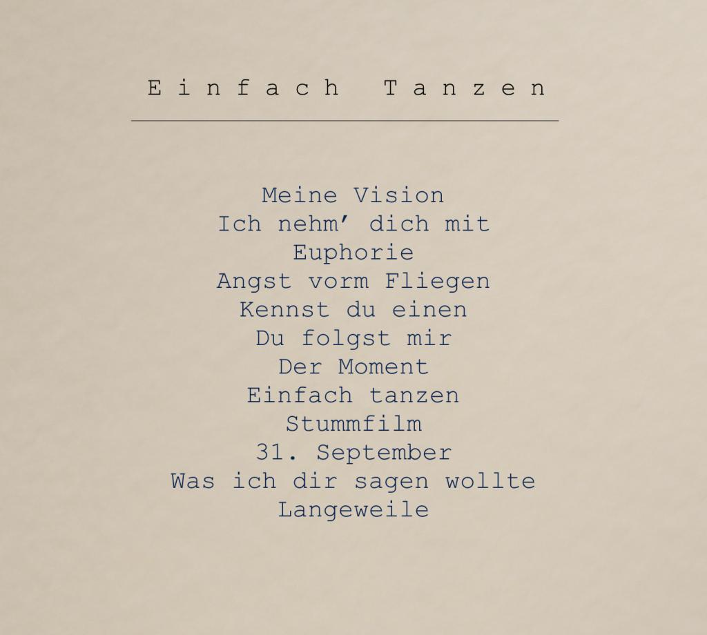 """Rückseite des Albums """"Einfach Tanzen"""" der Singer-Songwriter-Band Strandheizung von 2017."""