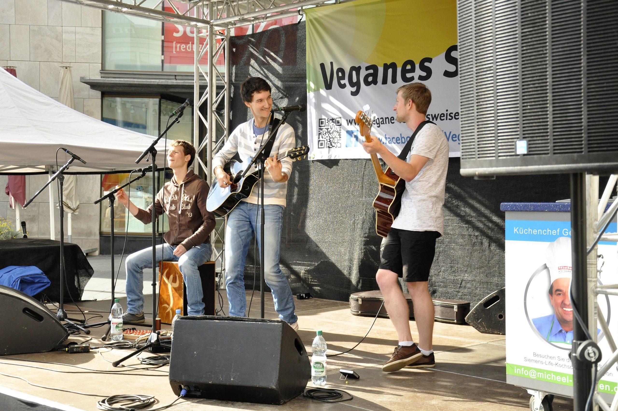 Auftrittsbild der Singer-Songwriter-Band Strandheizung vom Veganen Sommerfest in Halle/Saale im Juli 2016.