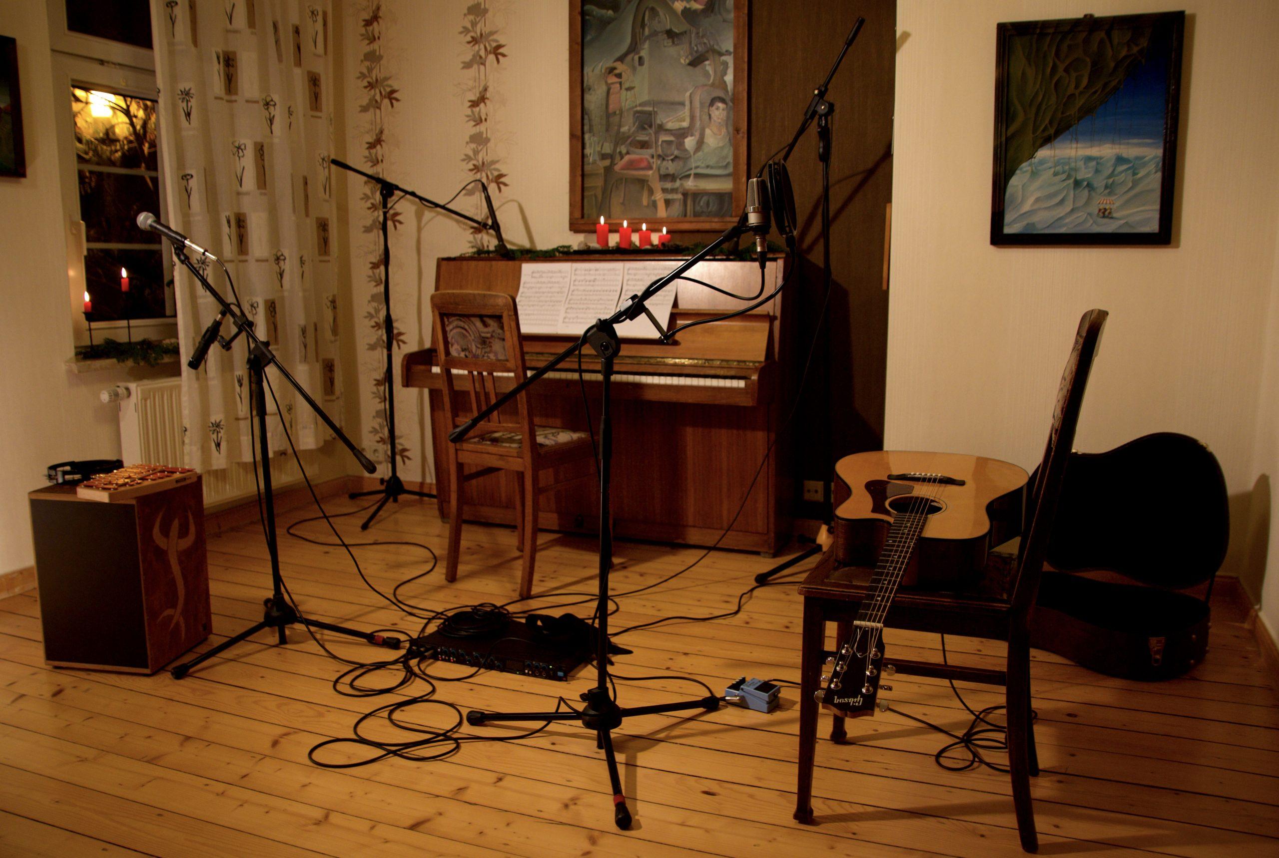 """Foto des Videodrehs zum Song """"Nur ein Wunsch"""" der Singer-Songwriter-Band Strandheizung in Weimar 2017"""