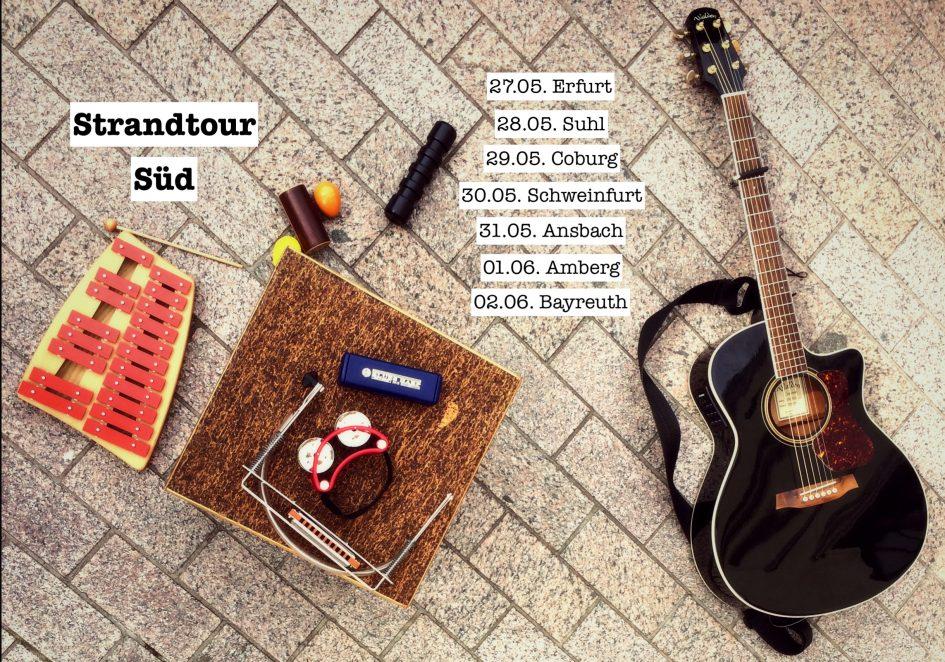 Promotionsfoto für die Strandtour Süd 2018 der Singer-Songwriter-Band Strandheizung im Mai 2018.
